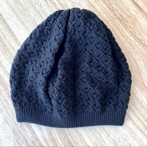 Open Weave Black Knit Beanie